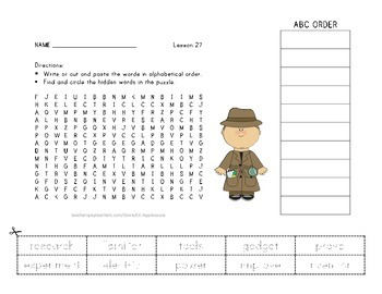 Vocabulary Word Search with ABC Order - Journeys 3rd Grade - Lesson 27