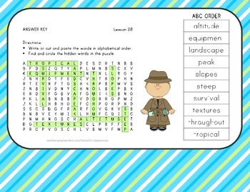 Vocabulary Word Search with ABC Order - Journeys 3rd Grade - Lesson 28