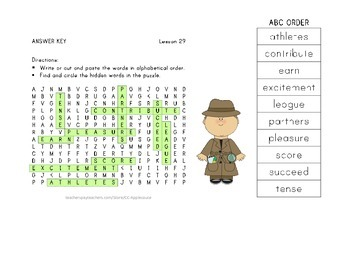 Vocabulary Word Search with ABC Order - Journeys 3rd Grade - Lesson 29
