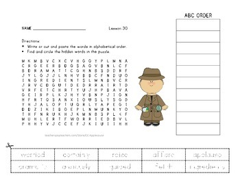 Vocabulary Word Search with ABC Order - Journeys 3rd Grade - Lesson 30