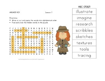 Word Search with ABC Order - What Do Illustrators Do - Journeys Aligned
