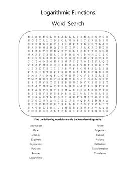 Vocabulary Word Searches - Logs, Rationals, Inverses