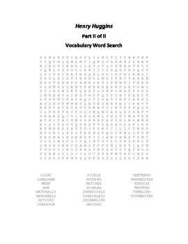 Vocabulary Word Searches for Beverly Cleary's Henry Huggins