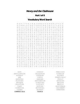 Vocabulary Word Searches for Beverly Cleary's Henry and the Clubhouse