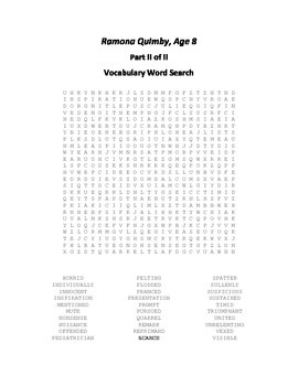 Vocabulary Word Searches for Beverly Cleary's Ramona Quimby, Age 8