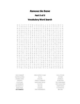Vocabulary Word Searches for Beverly Cleary's Ramona the Brave