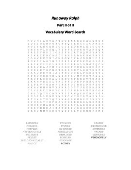Vocabulary Word Searches for Beverly Cleary's Runaway Ralph