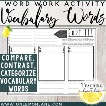 Vocabulary Word Sort it (Compare, Contrast, Categorize)