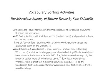 Word Sorting Activities for The Miraculous Journey of Edward Tulane chapters 1-9