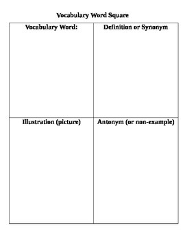 Vocabulary Word Square Graphic Organizer