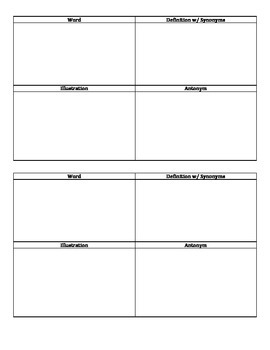 Vocabulary Word Squares Graphic Organizer Freebie