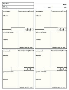 Vocabulary Word Squares Worksheet