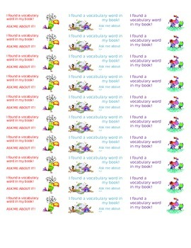 Vocabulary Word Sticker Sheet