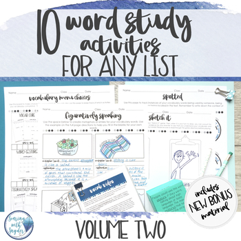 Vocabulary Activities Word Study for Any Word List - Grades 4 - 6 Volume Two