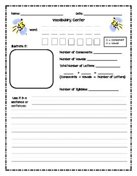Vocabulary/Word Study Activity