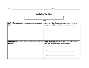 Vocabulary Word Study Beginner Prefunctional ELL ESL Pronunciation