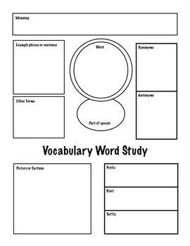 Vocabulary Word Study - Common Core