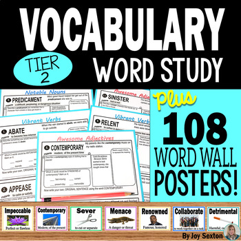 Vocabulary Activities - Word Study BUNDLE with Word Wall Posters & Quizzes 6 - 9