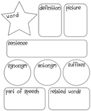 Vocabulary Word Template Synonym  Antonym Sentence All on One Page!