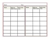 Vocabulary Word Tracker Sheet