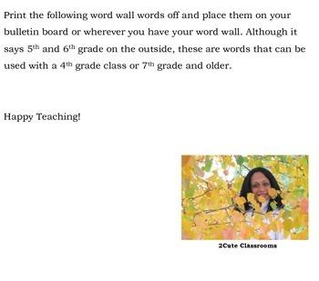 Vocabulary Word Wall