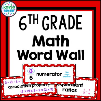 Vocabulary Word Wall - 6th Grade Math - 104 Words!!! (Red)