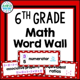 6th Grade Math Word Wall with PICTURES - 102 Words!!! (Red)