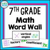 7th Grade Math Word Wall with PICTURES- 154 Words!!