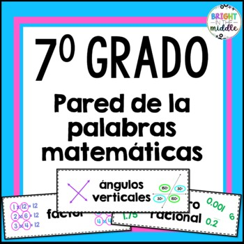 Vocabulary Word Wall - 7th Grade Math - IN SPANISH! 154 Words!