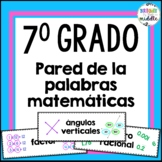 7th Grade Math Word Wall in SPANISH!