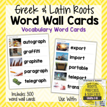 Vocabulary Word Wall Cards for Greek and Latin Roots Printables