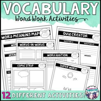 Vocabulary Word Work Menus