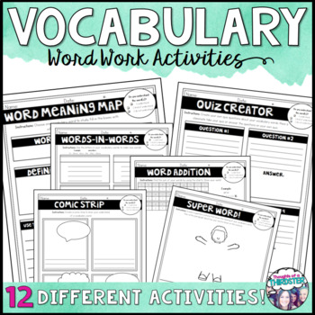 Vocabulary Word Work Menus