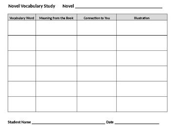 Any Novel Vocabulary Word Work