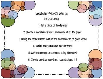 Vocabulary Word Work Activities
