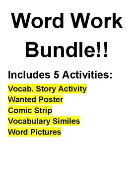 Vocabulary Word Work Bundle!