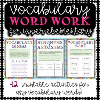 Vocabulary Word Work For Upper Elementary