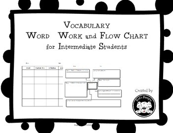 Vocabulary Word Work Graphic Organizer Flow Chart for Inte