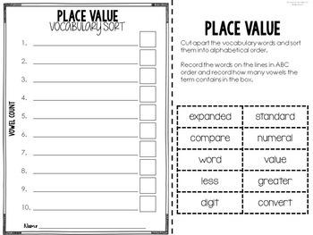 Vocabulary Word Work (No Prep Math Vocabulary Practice)