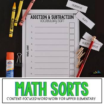 Math Vocabulary Word Work Activities