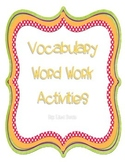 Vocabulary Word Work Packet