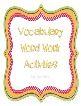Vocabulary Word Work Packet Sample