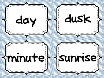 Vocabulary Word Work TIME Concept Cards