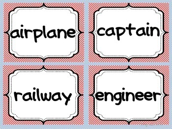 Vocabulary Word Work TRANSPORTATION Concept Cards