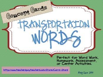 Vocabulary Word Work TRANSPORTATION Concept Cards