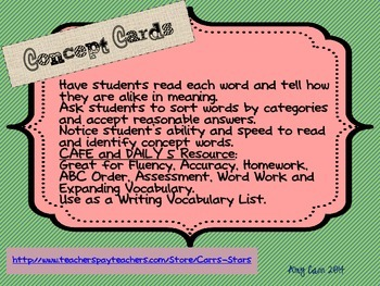 Vocabulary Word Work WEATHER Concept Cards