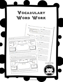 Vocabulary Word  Work and Graphic Organizer for Upper Elementary Students