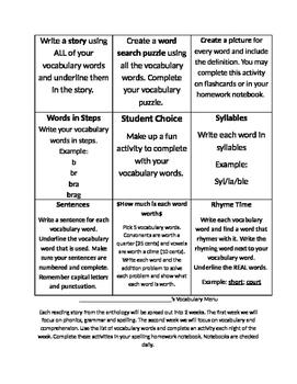 Vocabulary Word Work/Homework