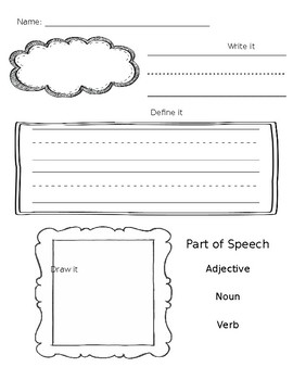 Vocabulary Word Worksheet