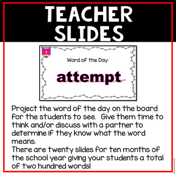 Digital Classroom Vocabulary Word of the Day for 5th Grade